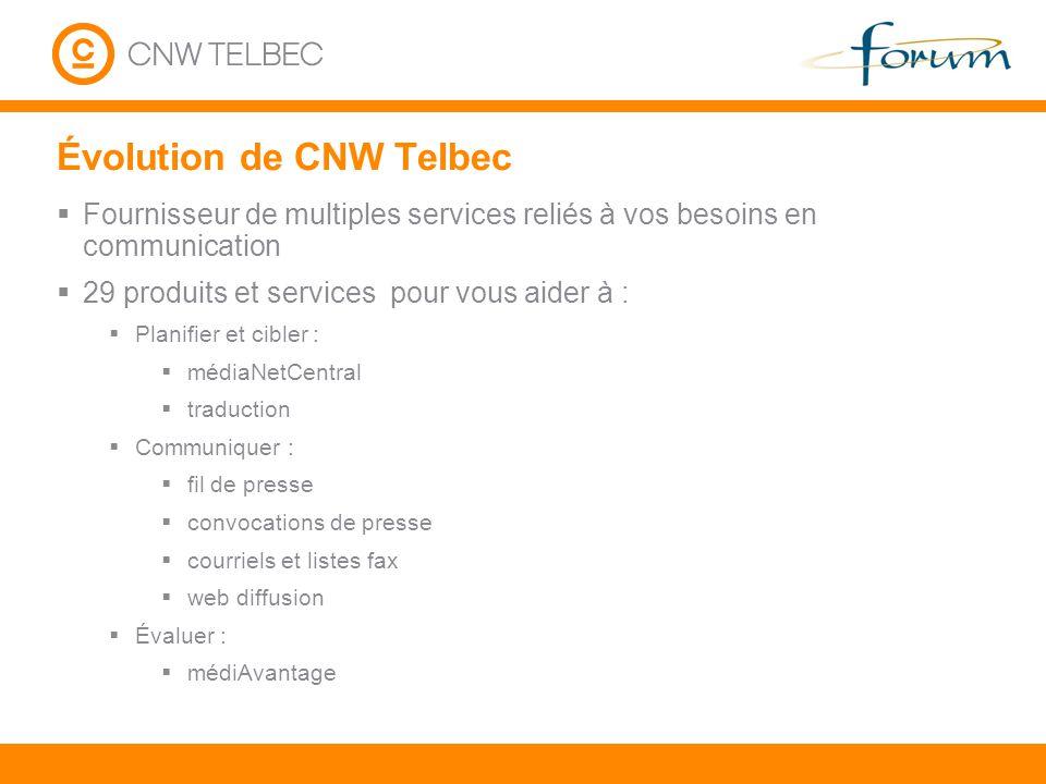 Évolution de CNW Telbec Fournisseur de multiples services reliés à vos besoins en communication 29 produits et services pour vous aider à : Planifier