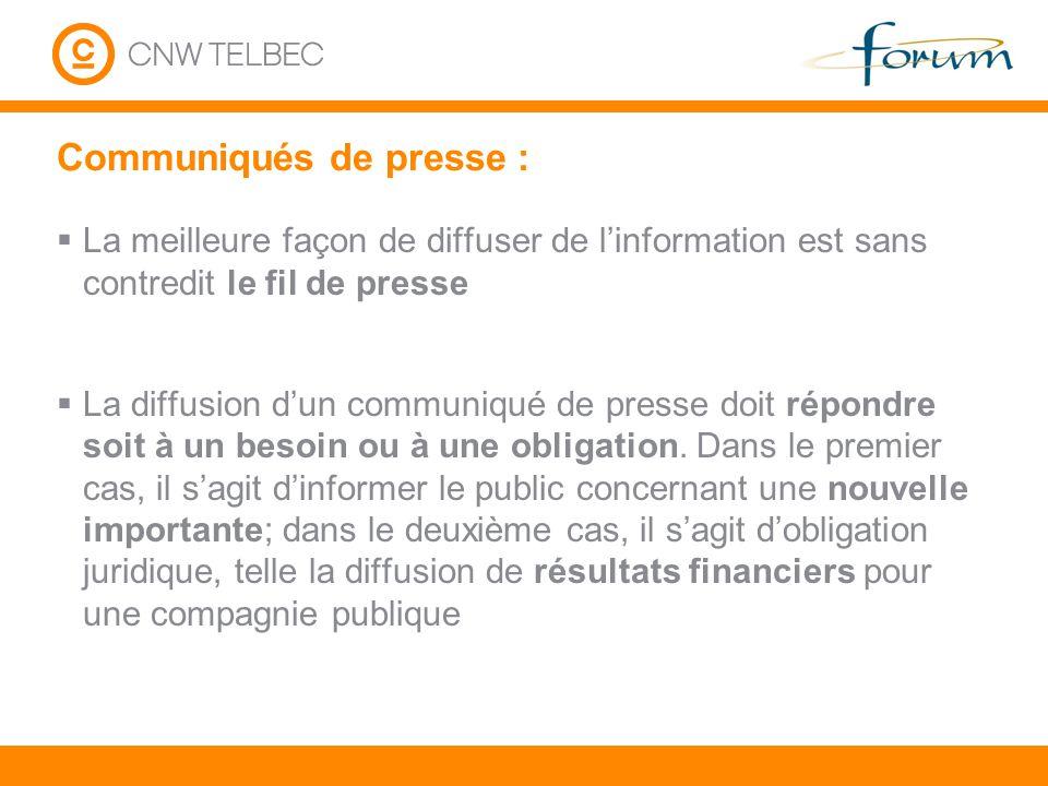 Comment envoyer vos communiqués vers CNW Telbec.