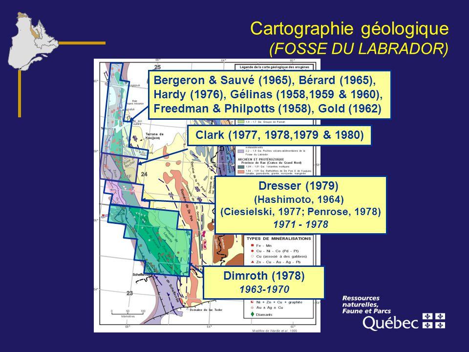Cartographie géologique (FOSSE DU LABRADOR) Bergeron & Sauvé (1965), Bérard (1965), Hardy (1976), Gélinas (1958,1959 & 1960), Freedman & Philpotts (19