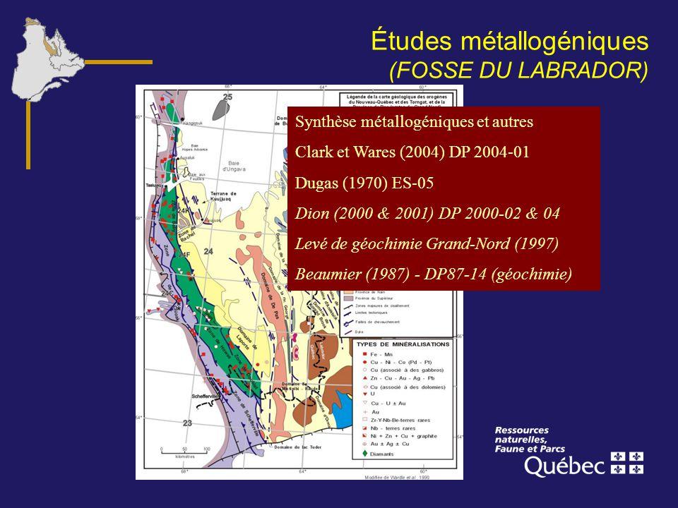Études métallogéniques (FOSSE DU LABRADOR) Synthèse métallogéniques et autres Clark et Wares (2004) DP 2004-01 Dugas (1970) ES-05 Dion (2000 & 2001) D
