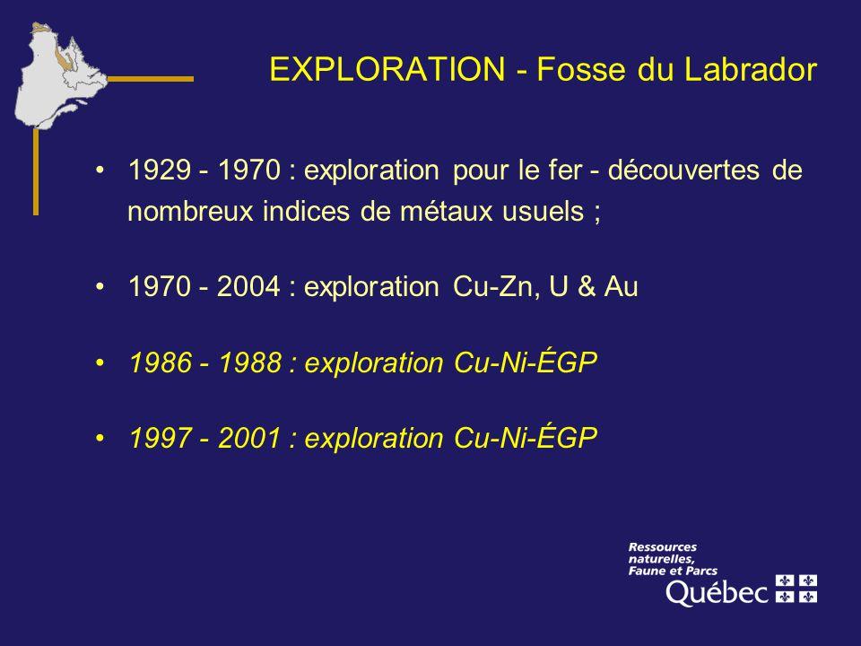 EXPLORATION - Fosse du Labrador 1929 - 1970 : exploration pour le fer - découvertes de nombreux indices de métaux usuels ; 1970 - 2004 : exploration C