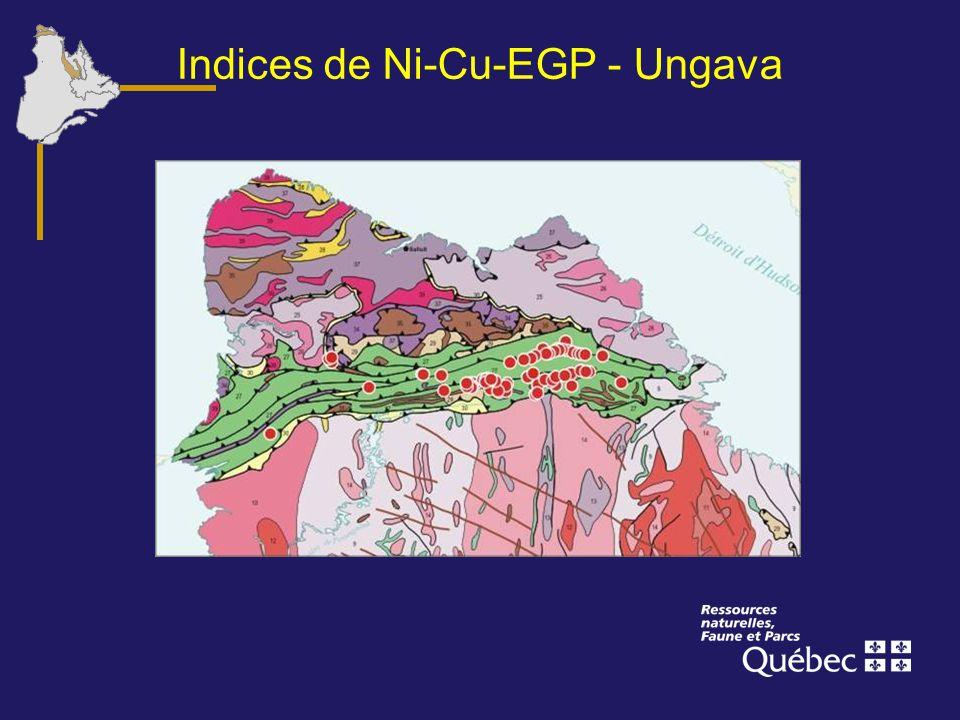 Indices de Ni-Cu-EGP - Ungava