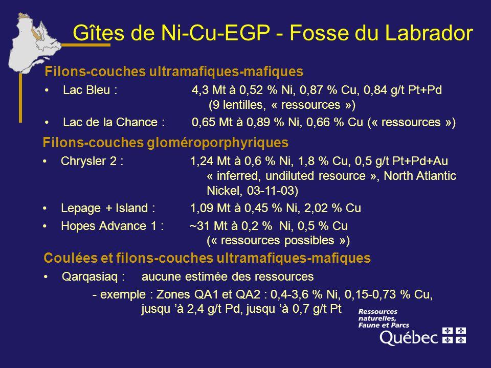 Gîtes de Ni-Cu-EGP - Fosse du Labrador Coulées et filons-couches ultramafiques-mafiques Qarqasiaq : aucune estimée des ressources - exemple : Zones QA