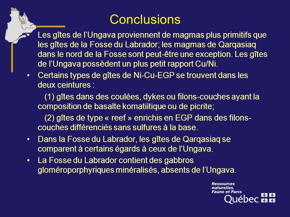 Conclusions Les gîtes de lUngava proviennent de magmas plus primitifs que les gîtes de la Fosse du Labrador; les magmas de Qarqasiaq dans le nord de l