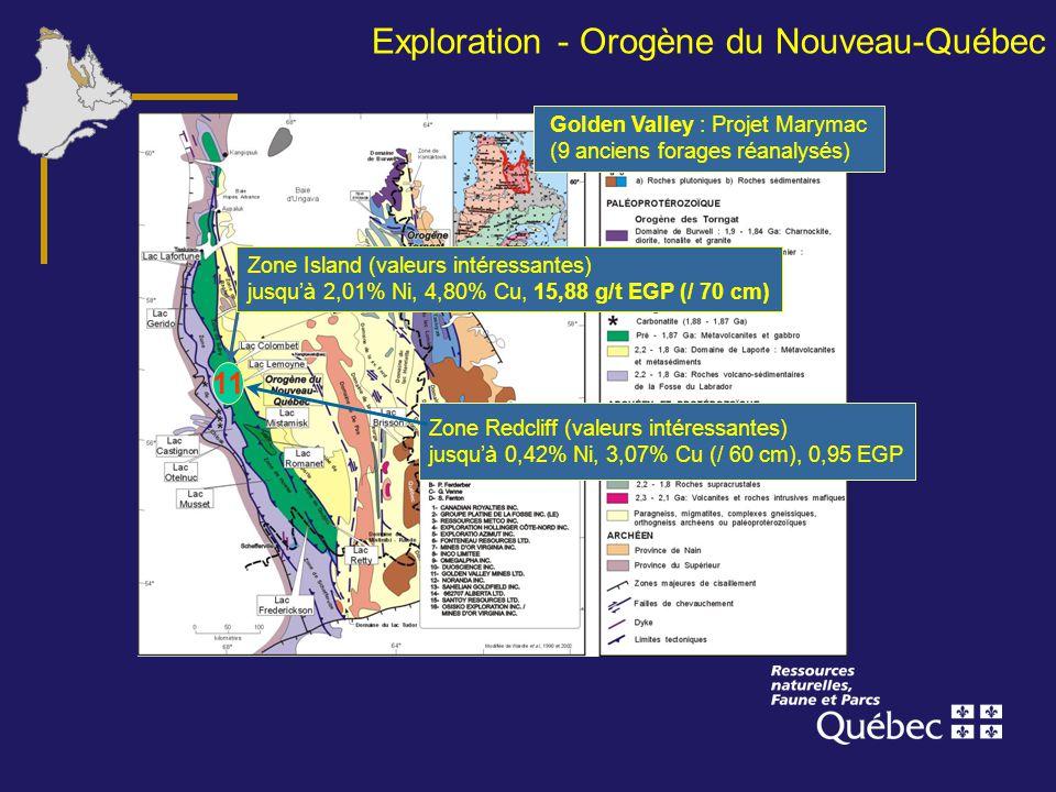 Exploration - Orogène du Nouveau-Québec Golden Valley : Projet Marymac (9 anciens forages réanalysés) 11 Zone Island (valeurs intéressantes) jusquà 2,