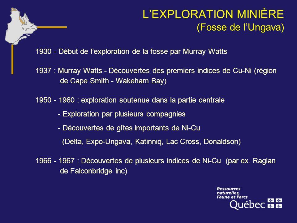 LEXPLORATION MINIÈRE (Fosse de lUngava) 1930 - Début de lexploration de la fosse par Murray Watts 1937 : Murray Watts - Découvertes des premiers indic