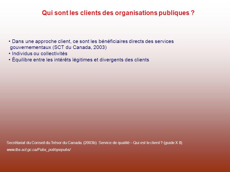 Qui sont les clients des organisations publiques ? Dans une approche client, ce sont les bénéficiaires directs des services gouvernementaux (SCT du Ca