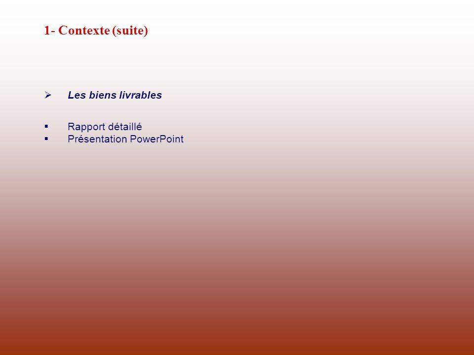 1- Contexte (suite) Les biens livrables Rapport détaillé Présentation PowerPoint
