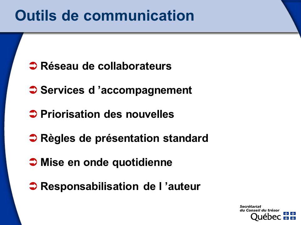 12 Outils de communication Réseau de collaborateurs Services d accompagnement Priorisation des nouvelles Règles de présentation standard Mise en onde