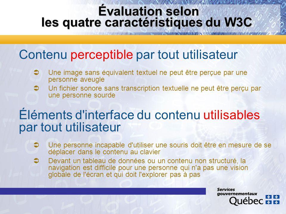 Évaluation selon les quatre caractéristiques du W3C Évaluation selon les quatre caractéristiques du W3C Contenu perceptible par tout utilisateur Une i
