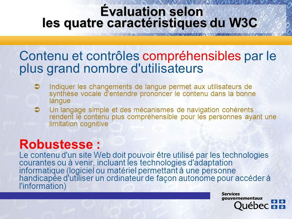 Évaluation selon les quatre caractéristiques du W3C Évaluation selon les quatre caractéristiques du W3C Contenu et contrôles compréhensibles par le pl