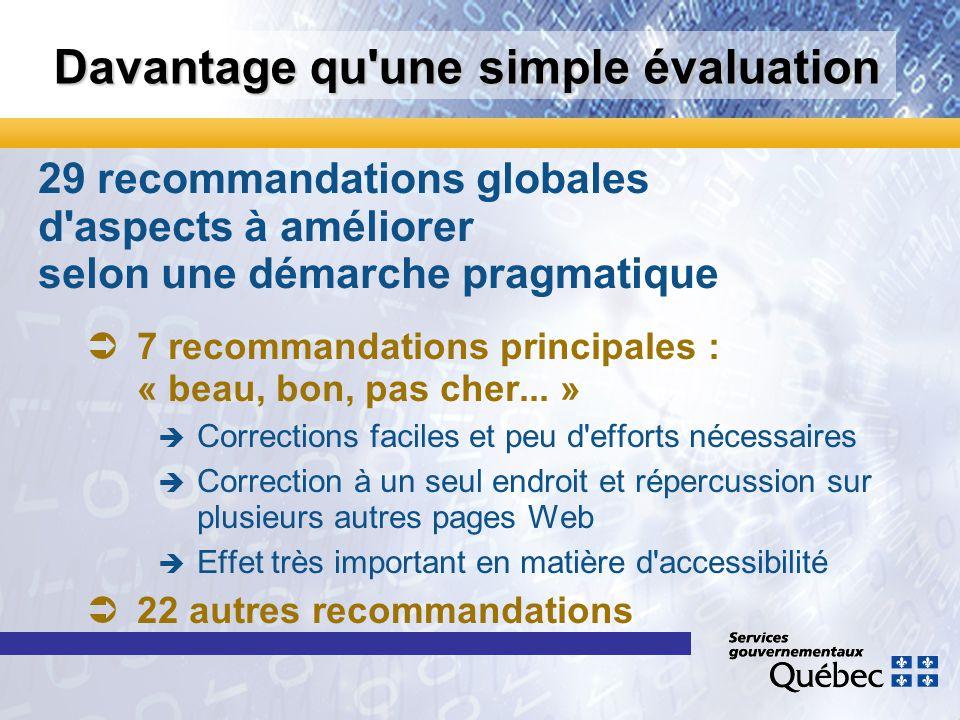 Davantage qu'une simple évaluation 29 recommandations globales d'aspects à améliorer selon une démarche pragmatique 7 recommandations principales : «