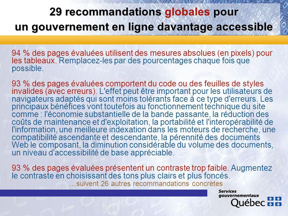 29 recommandations pour un gouvernement en ligne davantage accessible 29 recommandations globales pour un gouvernement en ligne davantage accessible 9