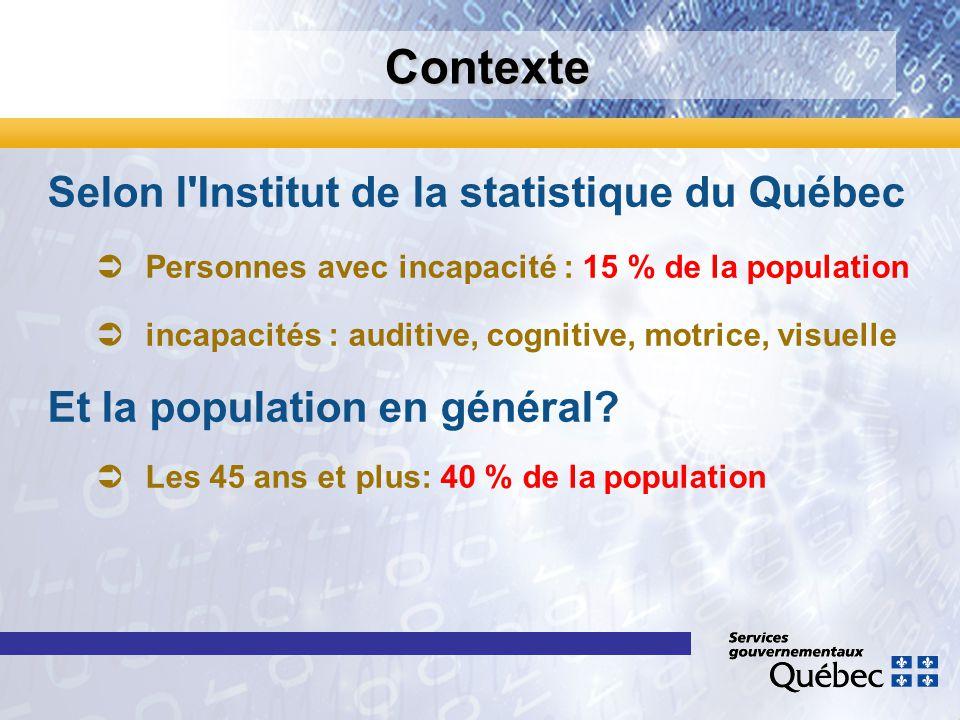 Contexte Selon l'Institut de la statistique du Québec Personnes avec incapacité : 15 % de la population incapacités : auditive, cognitive, motrice, vi