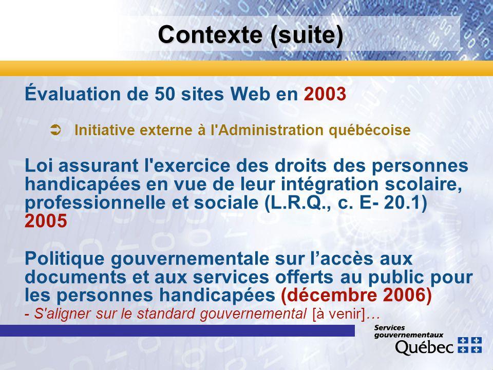 Contexte (suite) Évaluation de 50 sites Web en 2003 Initiative externe à l'Administration québécoise Loi assurant l'exercice des droits des personnes