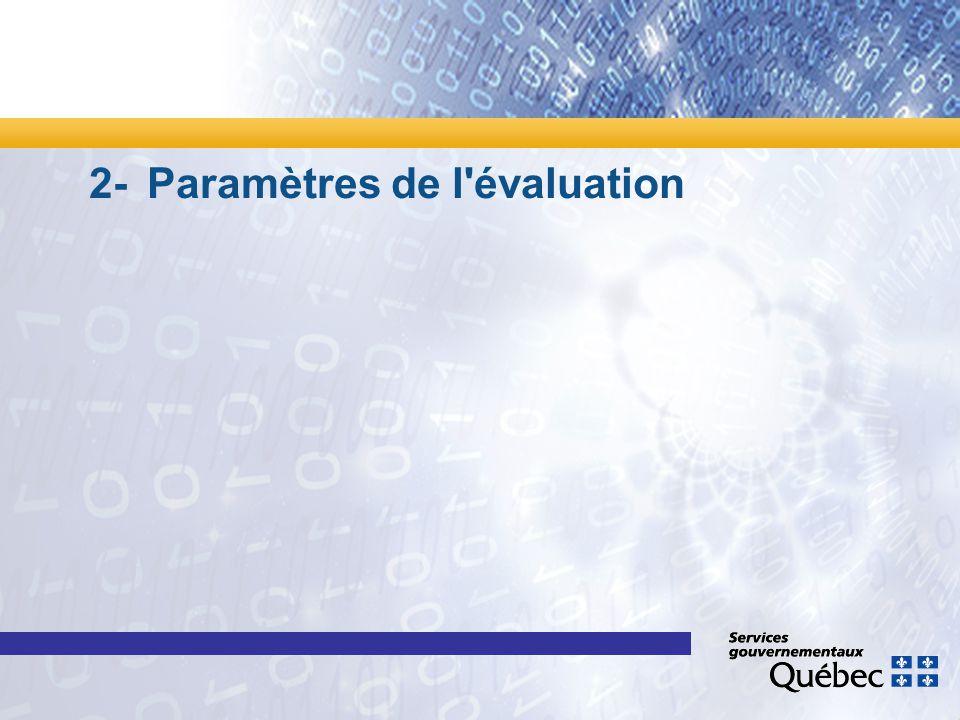 2- Paramètres de l'évaluation