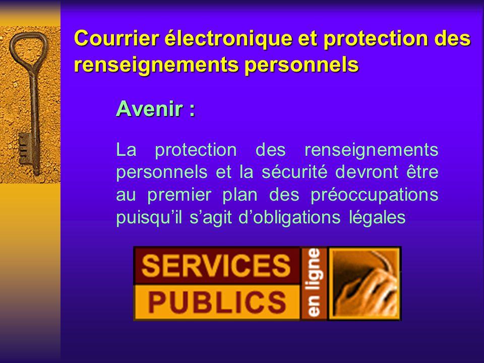 Courrier électronique et protection des renseignements personnels Des questions sur les technologies
