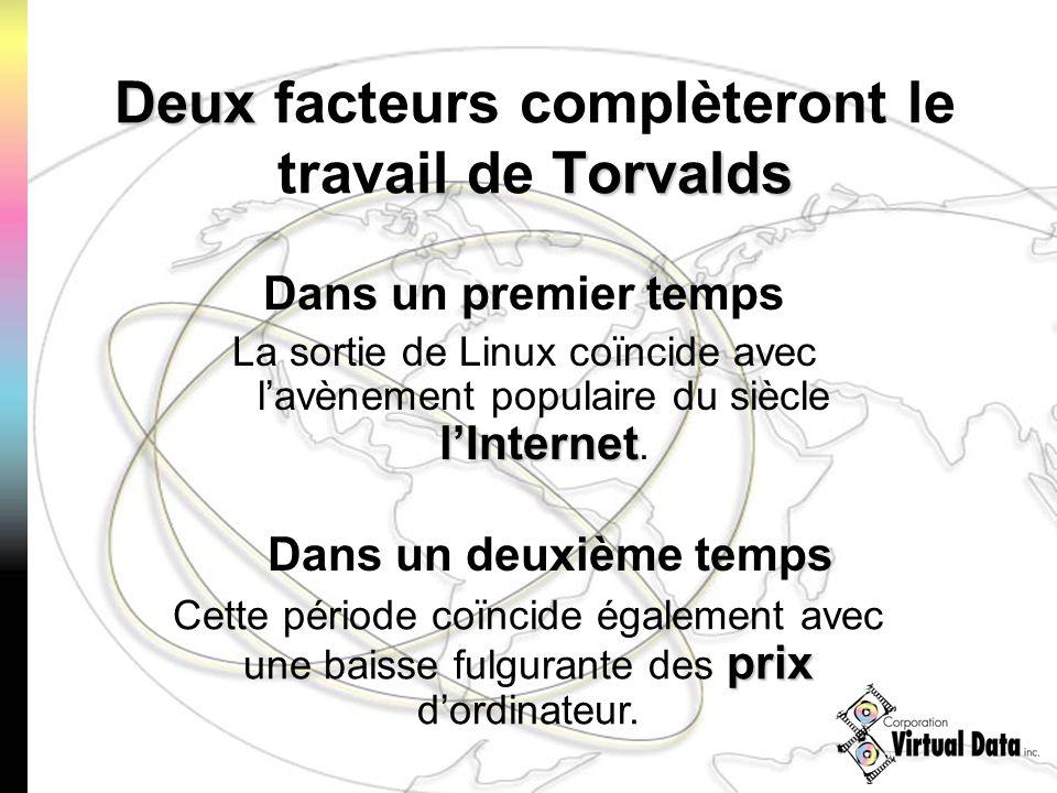 Deux Torvalds Deux facteurs complèteront le travail de Torvalds Dans un premier temps lInternet La sortie de Linux coïncide avec lavènement populaire