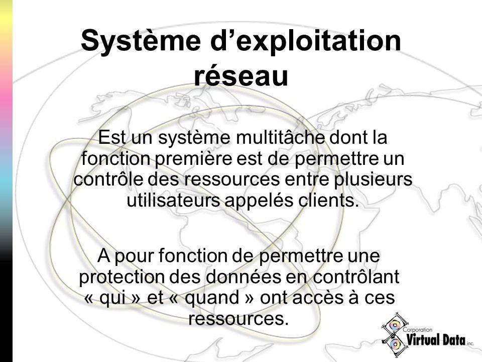 Système dexploitation réseau Est un système multitâche dont la fonction première est de permettre un contrôle des ressources entre plusieurs utilisateurs appelés clients.