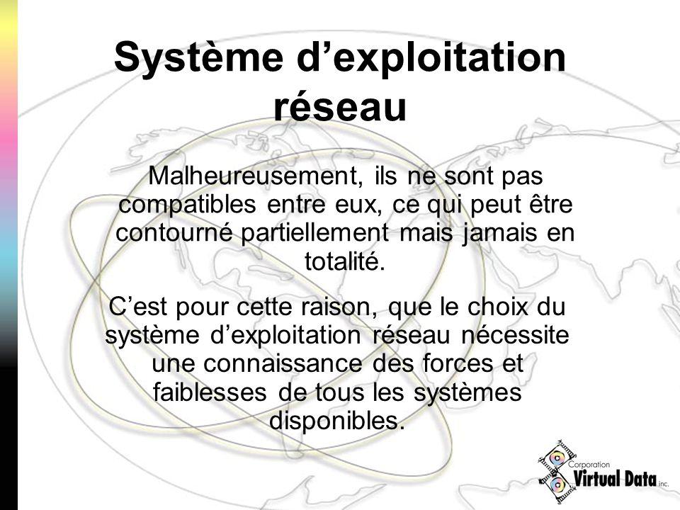 Cest pour cette raison, que le choix du système dexploitation réseau nécessite une connaissance des forces et faiblesses de tous les systèmes disponibles.