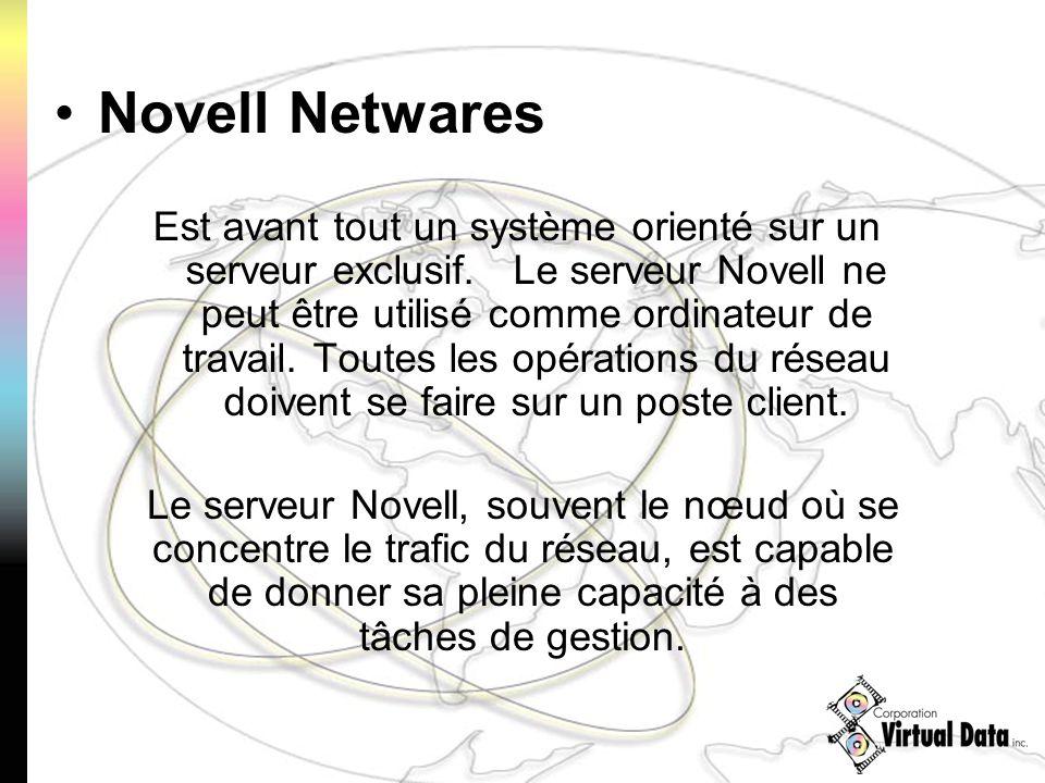 Est avant tout un système orienté sur un serveur exclusif. Le serveur Novell ne peut être utilisé comme ordinateur de travail. Toutes les opérations d