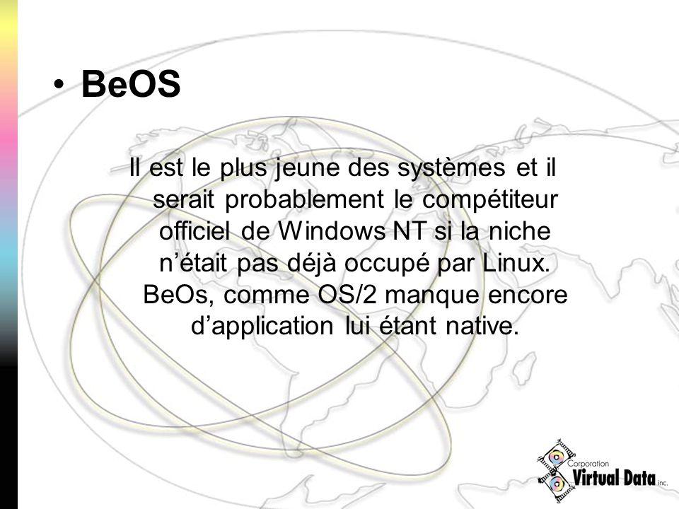 Il est le plus jeune des systèmes et il serait probablement le compétiteur officiel de Windows NT si la niche nétait pas déjà occupé par Linux. BeOs,