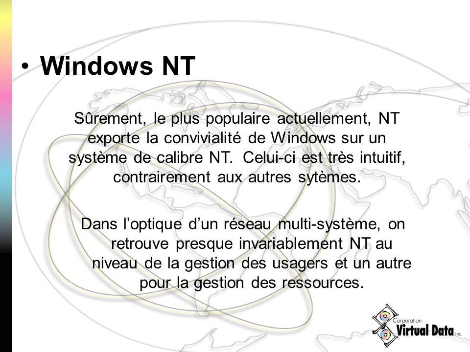 Dans loptique dun réseau multi-système, on retrouve presque invariablement NT au niveau de la gestion des usagers et un autre pour la gestion des ressources.