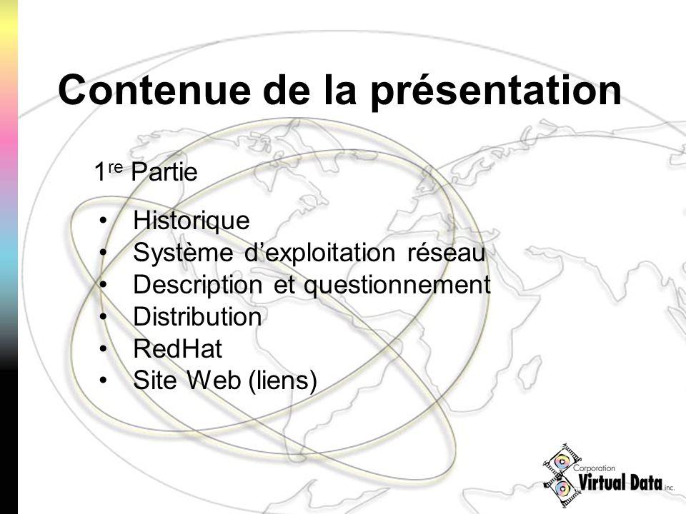 Contenue de la présentation 1 re Partie Historique Système dexploitation réseau Description et questionnement Distribution RedHat Site Web (liens)