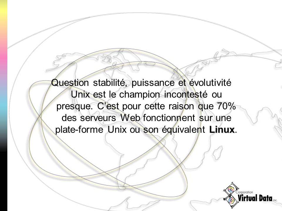 Linux Question stabilité, puissance et évolutivité Unix est le champion incontesté ou presque. Cest pour cette raison que 70% des serveurs Web fonctio