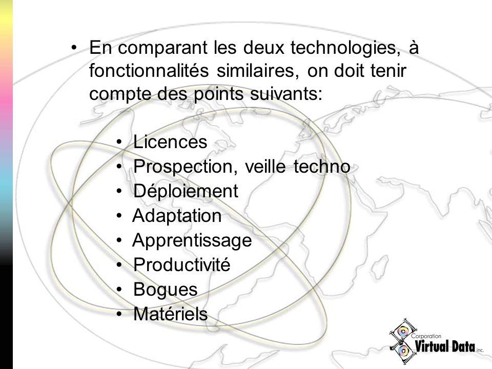 En comparant les deux technologies, à fonctionnalités similaires, on doit tenir compte des points suivants: Licences Prospection, veille techno Déploiement Adaptation Apprentissage Productivité Bogues Matériels