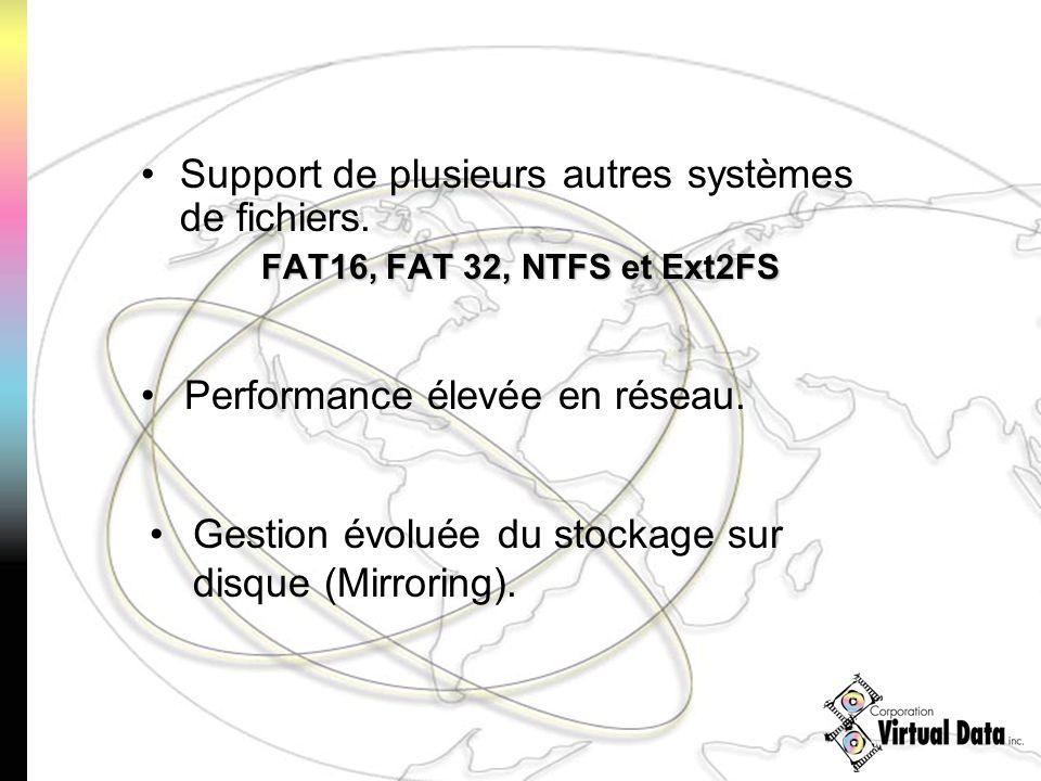 Support de plusieurs autres systèmes de fichiers. FAT16, FAT 32, NTFS et Ext2FS Performance élevée en réseau. Gestion évoluée du stockage sur disque (