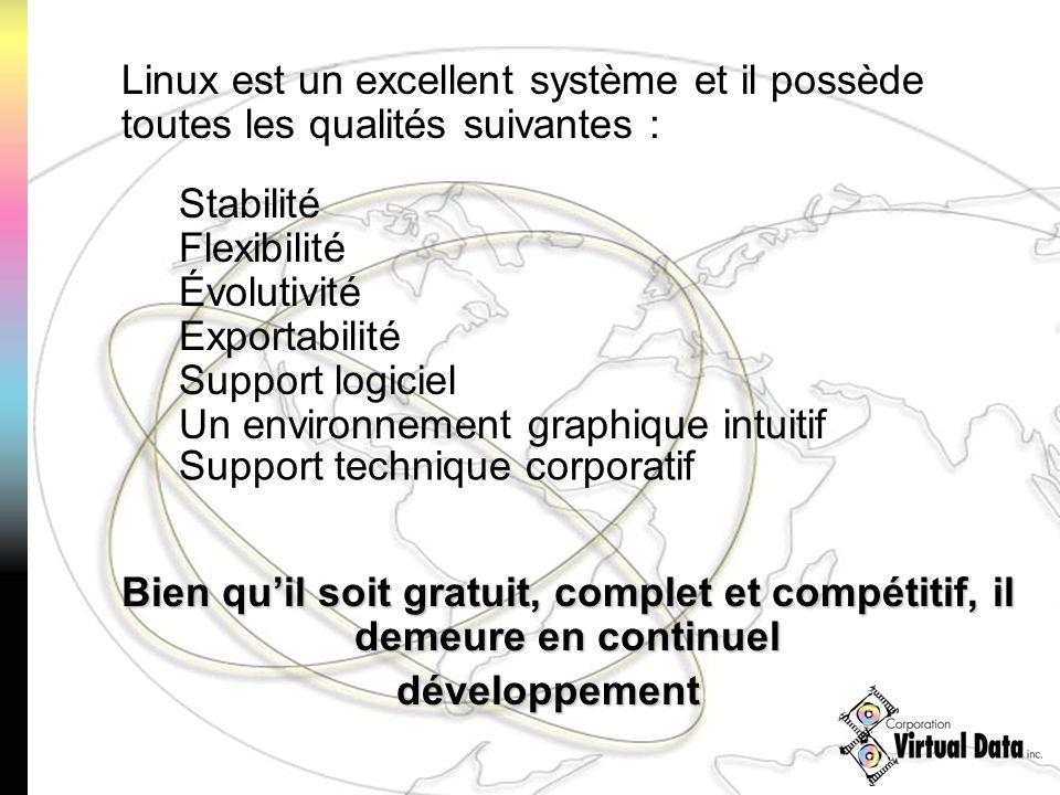 Linux est un excellent système et il possède toutes les qualités suivantes : Stabilité Flexibilité Évolutivité Exportabilité Support logiciel Un environnement graphique intuitif Support technique corporatif Bien quil soit gratuit, complet et compétitif, il demeure en continuel développement