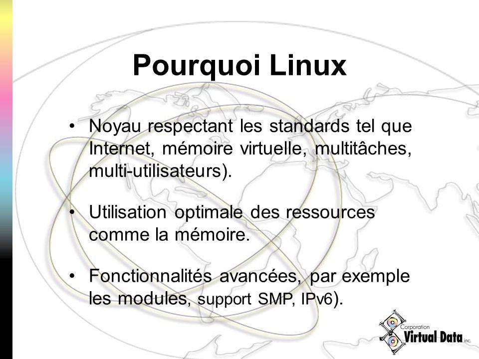 Pourquoi Linux Noyau respectant les standards tel que Internet, mémoire virtuelle, multitâches, multi-utilisateurs). Utilisation optimale des ressourc