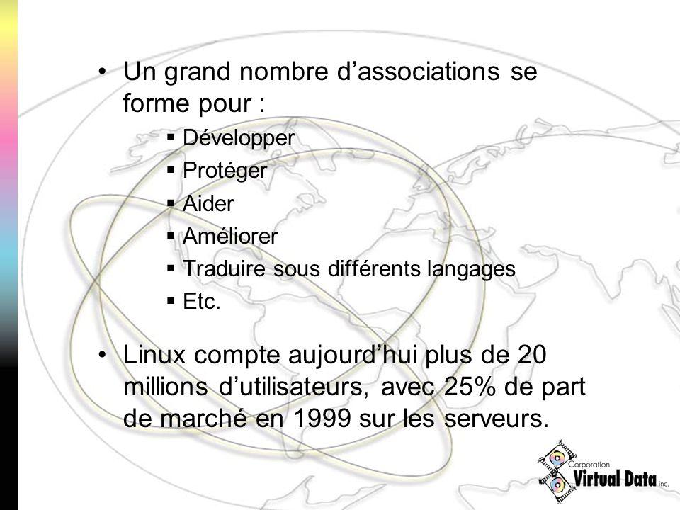Un grand nombre dassociations se forme pour : Développer Protéger Aider Améliorer Traduire sous différents langages Etc. Linux compte aujourdhui plus