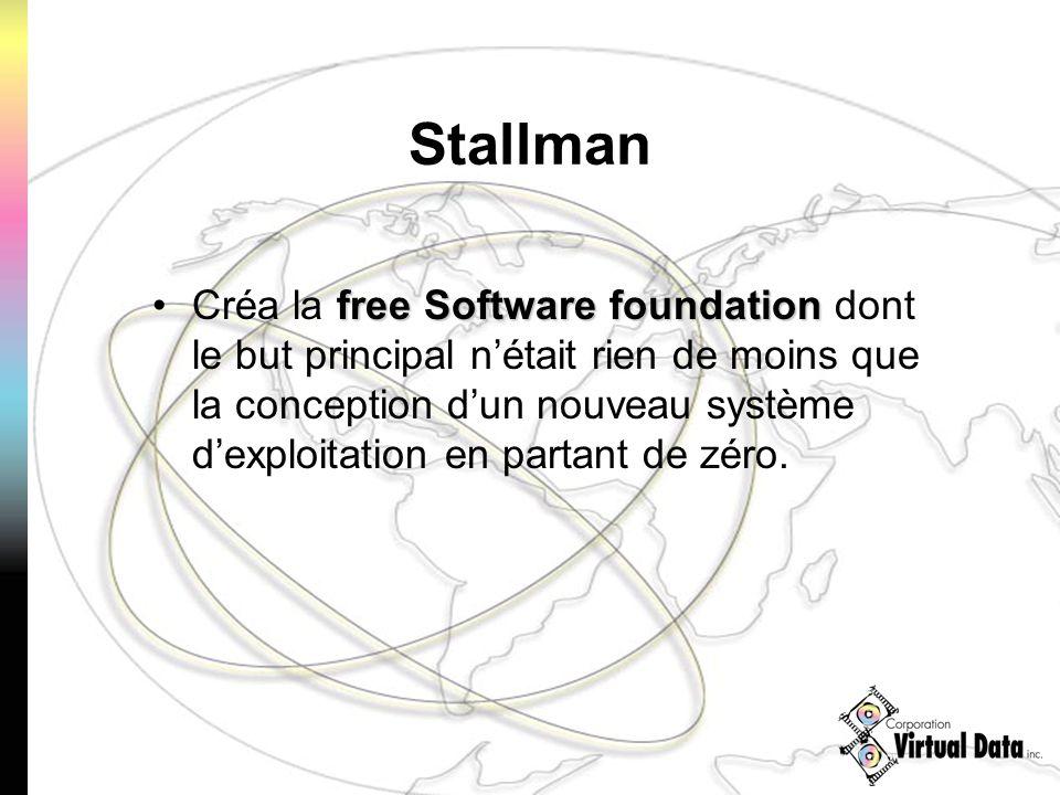 Stallman free Software foundationCréa la free Software foundation dont le but principal nétait rien de moins que la conception dun nouveau système dex