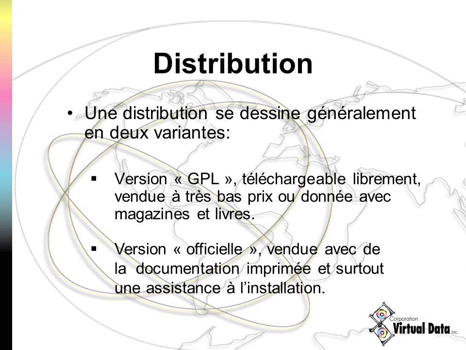 Distribution Une distribution se dessine généralement en deux variantes: Version « GPL », téléchargeable librement, vendue à très bas prix ou donnée a