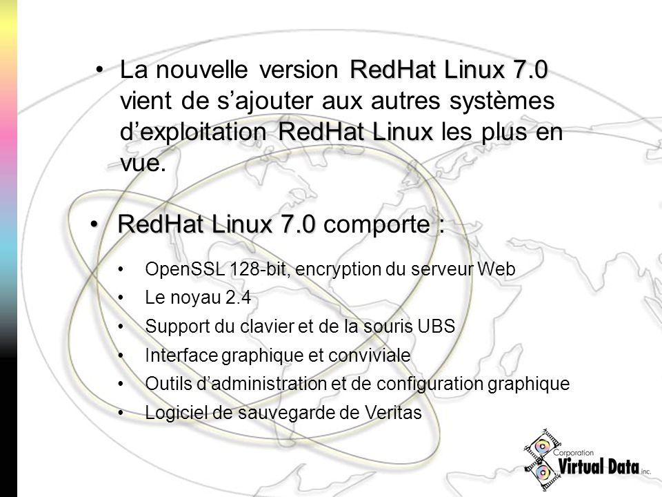 RedHat Linux7.0 RedHat LinuxLa nouvelle version RedHat Linux 7.0 vient de sajouter aux autres systèmes dexploitation RedHat Linux les plus en vue. Red