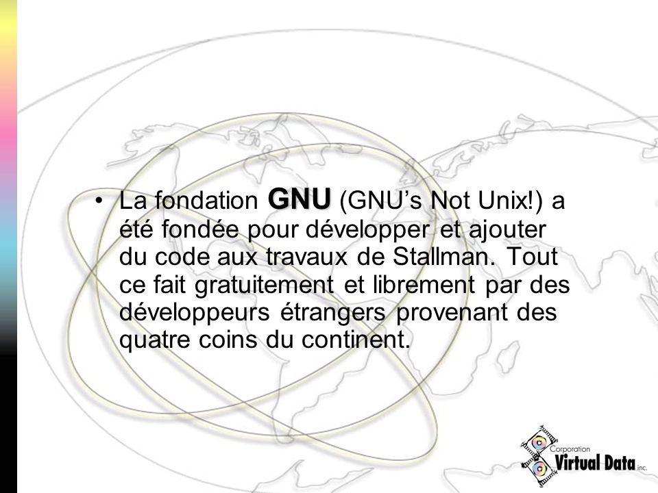 GNULa fondation GNU (GNUs Not Unix!) a été fondée pour développer et ajouter du code aux travaux de Stallman. Tout ce fait gratuitement et librement p