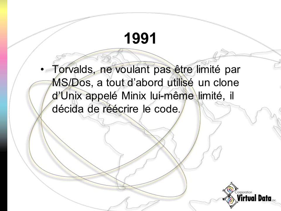 1991 Torvalds, ne voulant pas être limité par MS/Dos, a tout dabord utilisé un clone dUnix appelé Minix lui-même limité, il décida de réécrire le code.