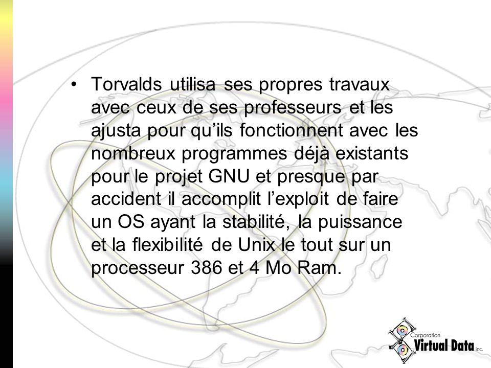 Torvalds utilisa ses propres travaux avec ceux de ses professeurs et les ajusta pour quils fonctionnent avec les nombreux programmes déjà existants pour le projet GNU et presque par accident il accomplit lexploit de faire un OS ayant la stabilité, la puissance et la flexibilité de Unix le tout sur un processeur 386 et 4 Mo Ram.