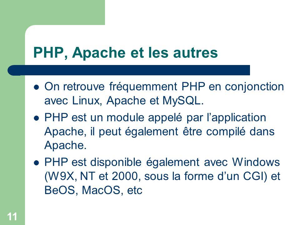 11 PHP, Apache et les autres On retrouve fréquemment PHP en conjonction avec Linux, Apache et MySQL. PHP est un module appelé par lapplication Apache,