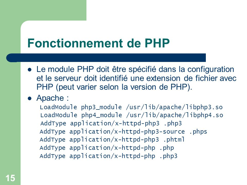 16 Fonctionnement de PHP (suite) Windows IIS Extension :.php Executable Path: F:\easyphp\php\php.exe
