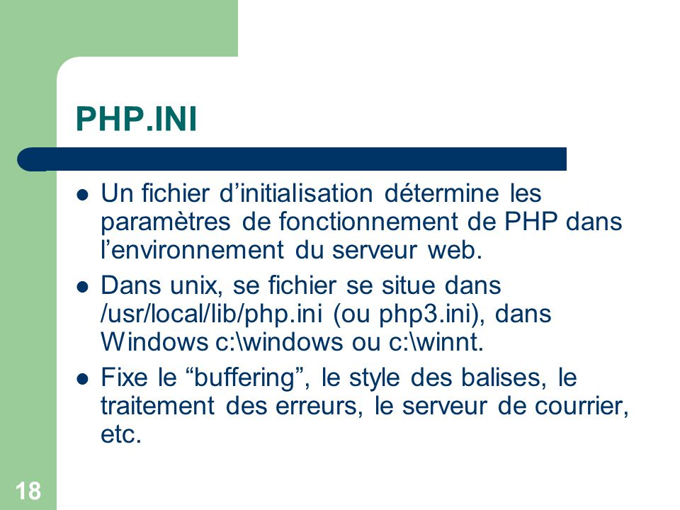 19 La codification PHP Insertion dans le code HTML dune page web.