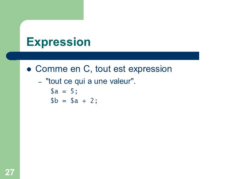 27 Expression Comme en C, tout est expression –
