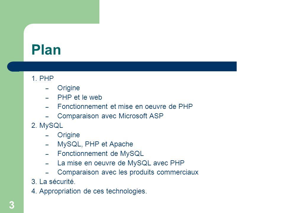 3 Plan 1. PHP – Origine – PHP et le web – Fonctionnement et mise en oeuvre de PHP – Comparaison avec Microsoft ASP 2. MySQL – Origine – MySQL, PHP et