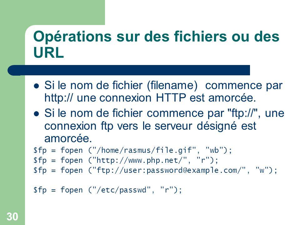 30 Opérations sur des fichiers ou des URL Si le nom de fichier (filename) commence par http:// une connexion HTTP est amorcée. Si le nom de fichier co