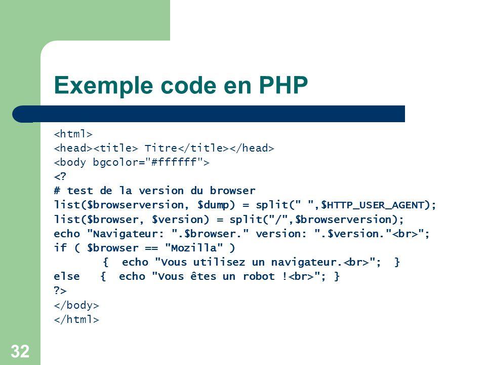 32 Exemple code en PHP Titre <? # test de la version du browser list($browserversion, $dump) = split(