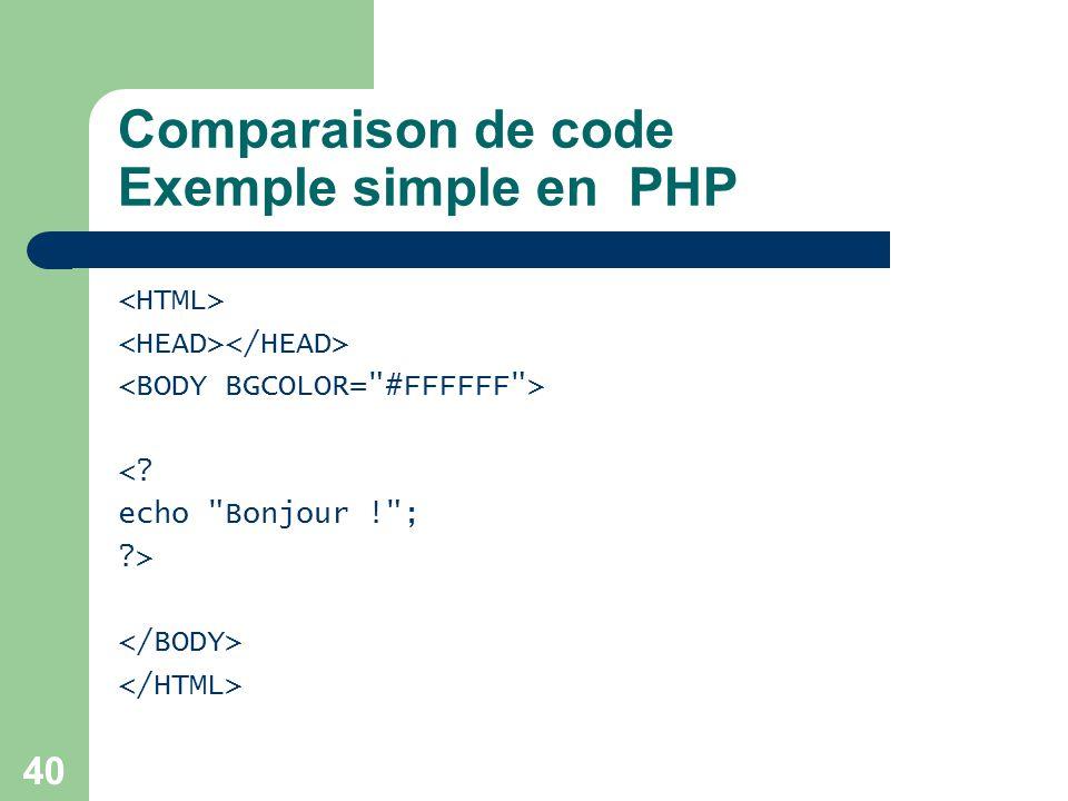 40 Comparaison de code Exemple simple en PHP <? echo