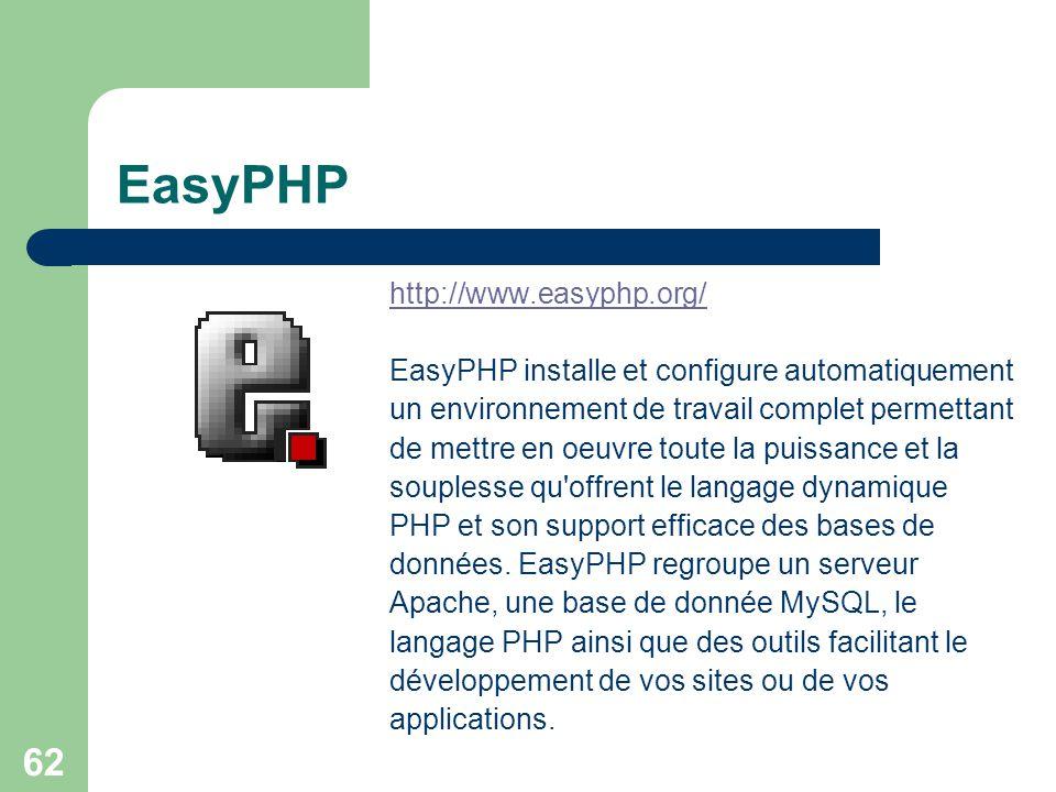 62 EasyPHP http://www.easyphp.org/ EasyPHP installe et configure automatiquement un environnement de travail complet permettant de mettre en oeuvre to