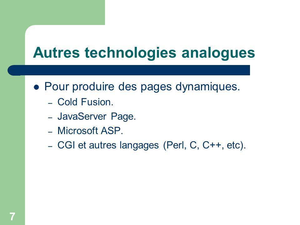 7 Autres technologies analogues Pour produire des pages dynamiques. – Cold Fusion. – JavaServer Page. – Microsoft ASP. – CGI et autres langages (Perl,